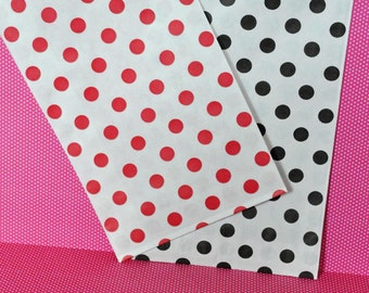 24 Red and Black Polka Dot Favor Bags Paper Party Bags