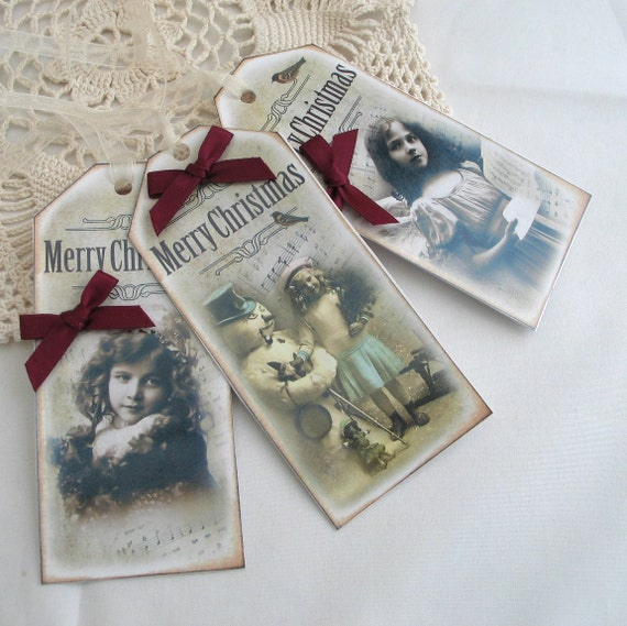 Christmas Gift Tags Shabby Chic Vintage Style 3 Luxury Gift Labels Red Bow