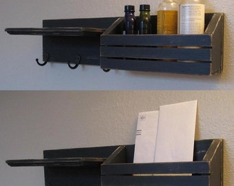 Shabby Chic Nautical Beach Cottage LARGE Multipurpose Key ring Mail holder Organizer Shelf Coat Towel Hanger Hooks in Distressed Black
