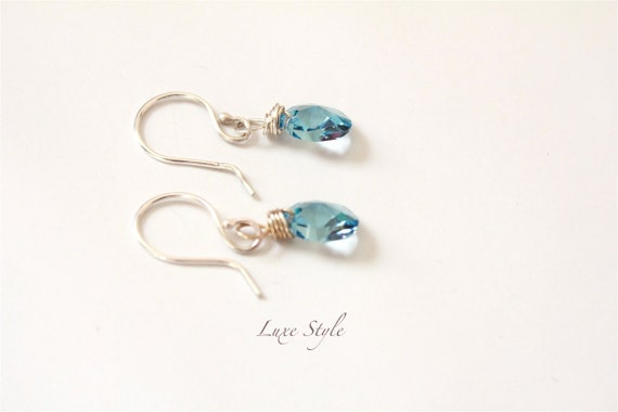 Dangle Ear Rings Sterling Silver Wire wrapped Metal Jewelry Handmade Swarovski teardrop Crystal Aqua Blue Bridesmaid Eco friendly Luxe Style