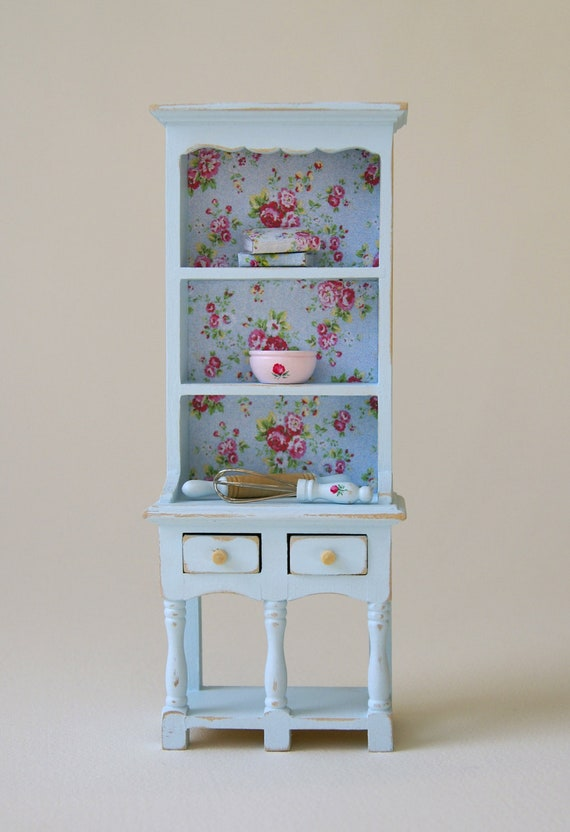 ... Pastel Blue Shabby Chic 1:12 Scale Dresser With Kitchen Accessories
