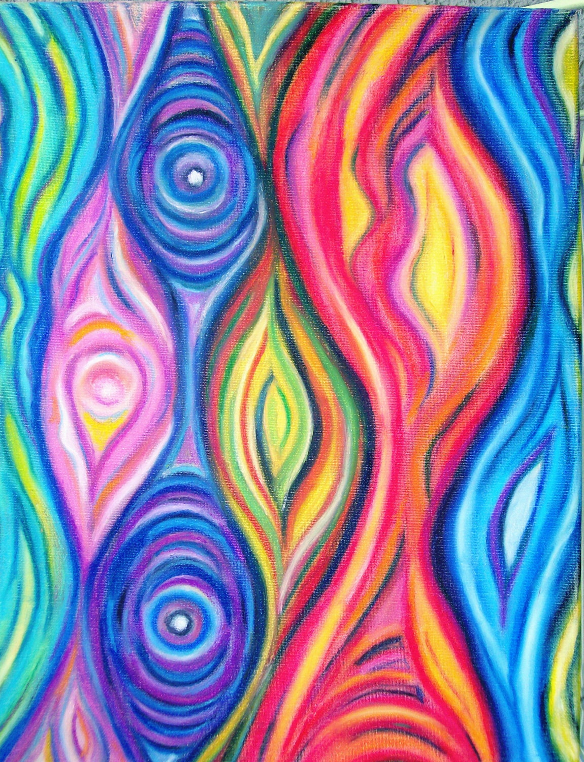 Abstract art original oil pastel abstract art by for Abstract mural art