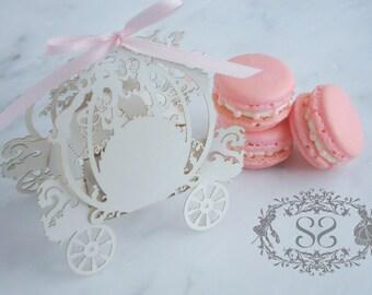 Wedding Favors French Macaron Favor Princess Wedding Cinderella Carriage Favor Box and (1) French Macaroon