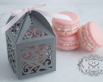 Wedding Favor Macaron Favor Opulent Wedding Ornate Favor Box and (2) French Macaroon
