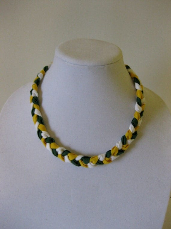SALE Green Bay Packers-Braided Fabric Necklace-green and yellow, clasp closure