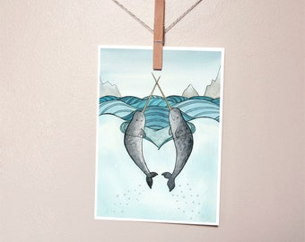 Cute Narwhals Small Art Print - from original watercolor painting 5x7