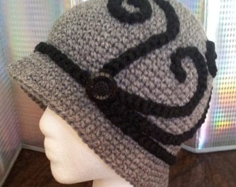 Women's Gray Cloche Vintage  Winter Hat From 1920s - Adult - Teen - Girls