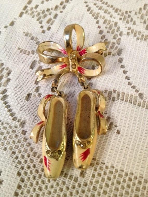 Vintage Ballerina Shoe and Bow Pin, Brooch, Enamel, Jewelry, Rhinestones