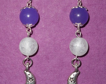 Celestial Moon with Quartz and Agate dangle earrings