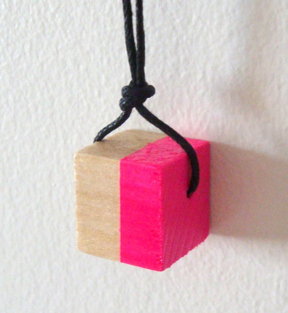 """Neon pink necklace, wood cube pendant, black cord, 32"""" long"""