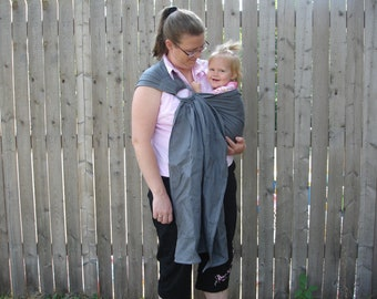 Gray 100% linen ring sling for infants and toddlers custom order with a pocket
