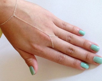 Sterling Silver Chain Linked Ring and Bracelet - Hand Jewelry - Hand Flower - Handflower