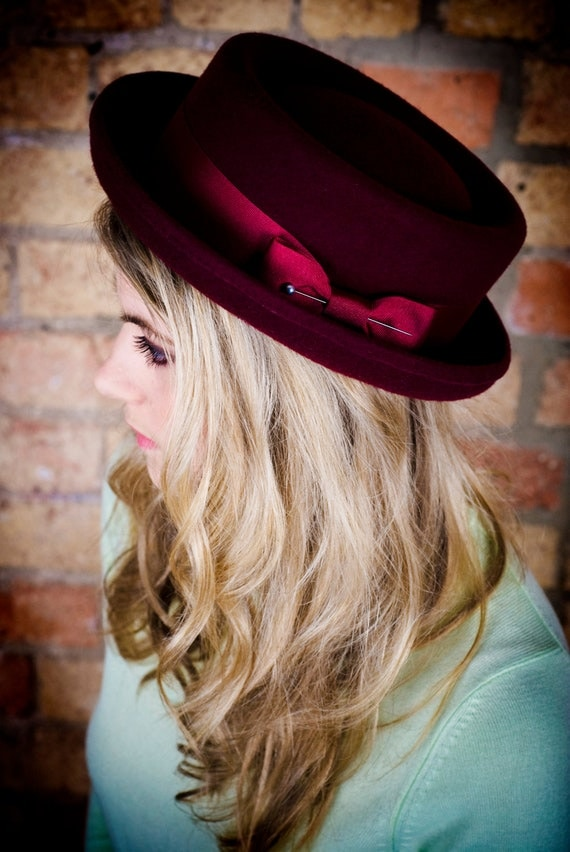 Items similar to Ladies classic porkpie hat in oxblood burgundy. on Etsy 451626d9cdd