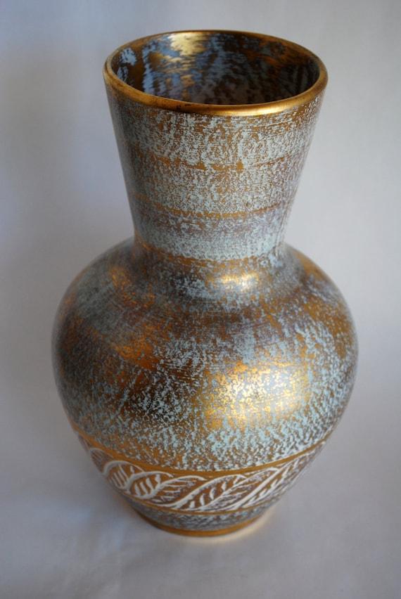 Large Vintage Stangl 22k Gold Glazed Phoenician Vase 1959 Mid