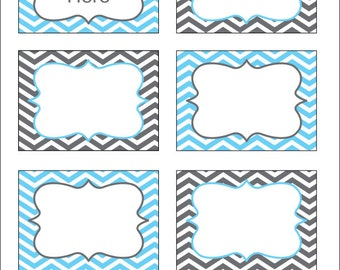 Gray and Blue Chevron Labels, Printable PDF, EDITABLE labels, printable labels, edit text yourself, diy, Instant Download