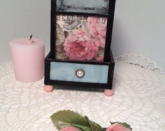 Stain glass candle holder cottage chic decorative pink floral multiuse