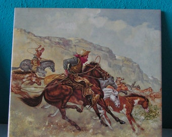 Set of 3 Vintage Tiles with Wild West Landscape signed Royal Mosa handcrafted Glazed Ceramic 6X6