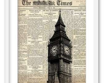 Big Ben and newspaper. London. Wall art decoration print 8x10. Free Shipping.
