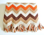 Vintage Handmade Crochet Zig Zag Chevron Afghan Throw in Autumn Colors - LittleBlueHouseMod