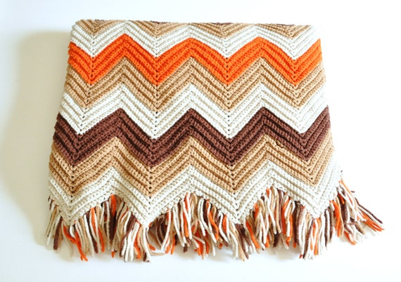 Crocheting A Zig Zag Afghan : Vintage Handmade Crochet Zig Zag Chevron Afghan Throw in Autumn Colors