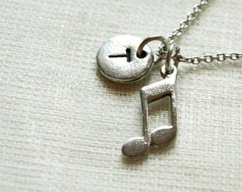 Music Note charm, music note necklace, eighth notes,  initial necklace, initial hand stamped, personalized, antique silver, monogram