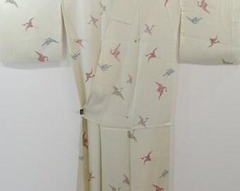 Lovely Silk Vintage Kimono - Flying Cranes