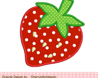 Strawberry Machine Embroidery Applique -4x4 5x5 6x6 inch
