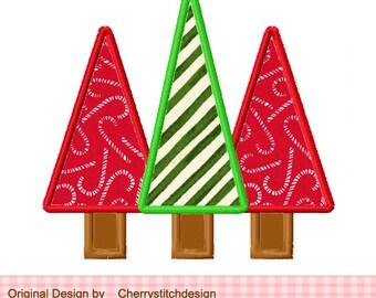Three Christmas Tree Applique -4x4 5x7 -Machine Embroidery Applique Design