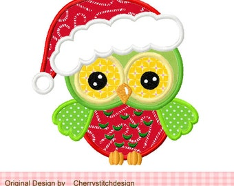 Christmas owl Machine Embroidery Applique Design -4x4 5x5""