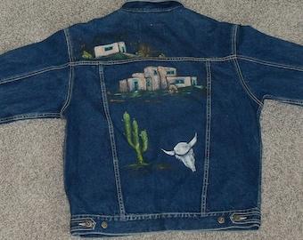 Vintage 1980's Southwest Hand-Painted Denim Jacket Size Medium