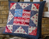 SALE quilted americana pillow cover, decorative pillow cover