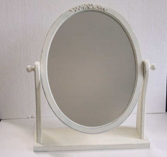 oval vanity mirror with stand shabby chic chippy by mollymcshabby. Black Bedroom Furniture Sets. Home Design Ideas