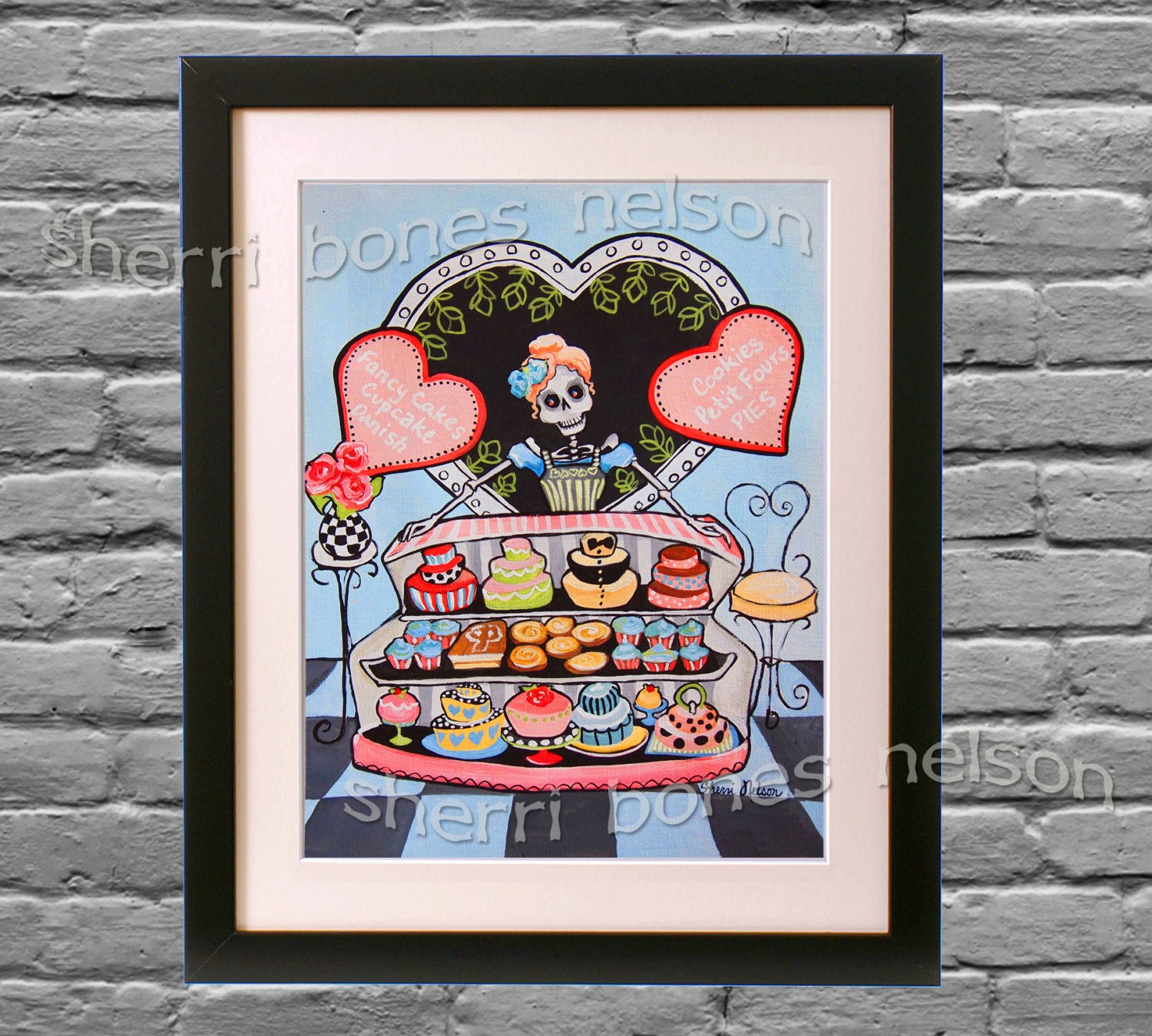 day of the dead bakery wall decor kitchen catrina pink