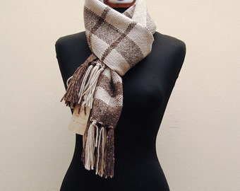 Unique handwoven scarf in pure Merino and Alpaca wool scottish beige and brown GAME OF SHAPES