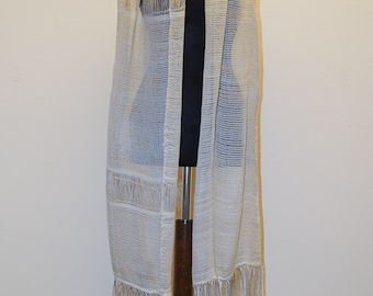 Unique handwoven Stole of linen and silk natural colors