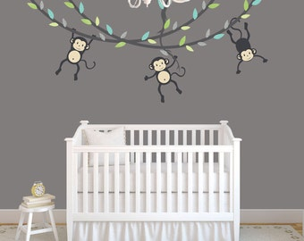 Hanging Monkey Wall Decal, Monkey Vines, Monkey Decal, Nursery Wall Decals, Boy Monkeys, Kids Room Wall Decals, Modern Blue Design