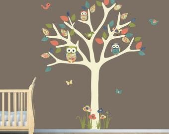 Nursery Wall Decal, Owl Tree Decal, Owl Art, Owl tree wall sticker, owl wall decal, blue owl set, nursery owl decor, Indie Bloom Design