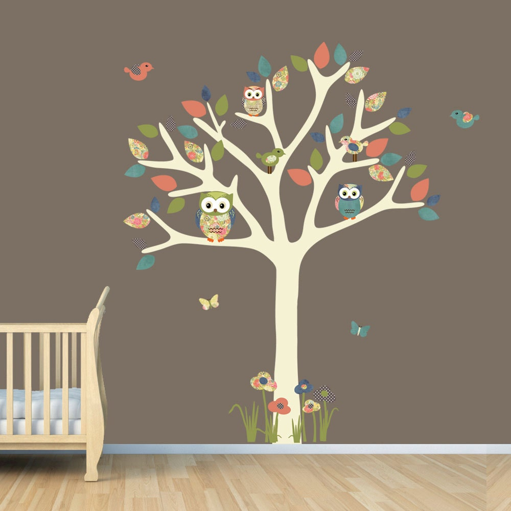 Nursery wall decal owl tree decal owl art owl tree wall for Bird and owl tree wall mural set