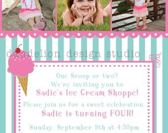 PRINTABLE Photo Invitation - One or Three Photo Invite - Ice Cream Shoppe Party Collection - Dandelion Design Studio