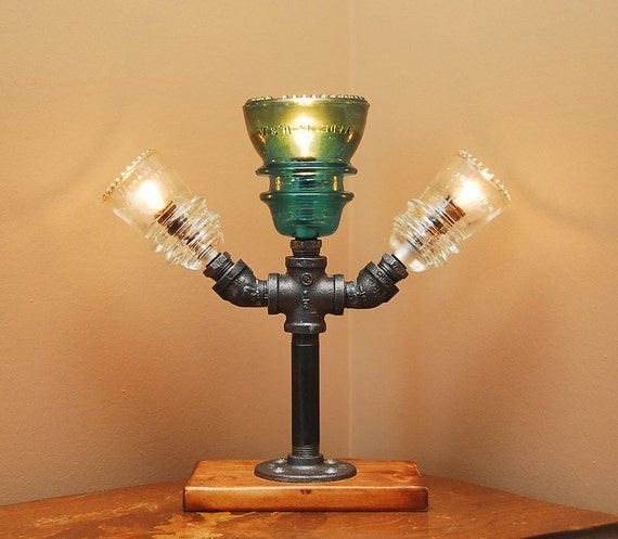 Pipe Lamp Industrial Lamp Urban Pipe Lamp By: Items Similar To Industrial Style Pipe Lamp With 3 Glass