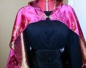 Pink Cherry-Blossom Brocade Waist-length Hooded Cloak