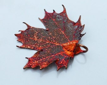 Iridescent Copper Genuine Sugar Maple Leaf Pendant,  Real Leaf Jewelry, Leaf Pendant, Wedding Jewelry, Unique, Nature, Christmas Ornament