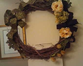 REDUCED ** Grapevine Wreath with Leopard Ribbon