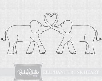 Elephant trunk heart digital stamp for Elephant heart trunk