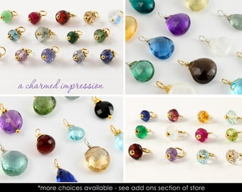 ADD A GEMSTONE Charm for Bracelet, Charm for Necklace, Briolette Gemstones Add On Charm, Add Charm to Jewelry, Add a Stone, Add Gemstone