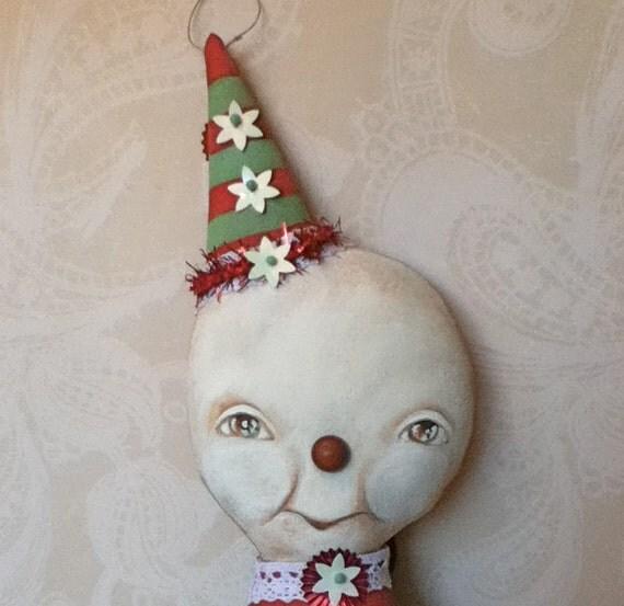 Folk Art Halloween Pumpkin and Snow Girl Doll Tipsy-Turvey