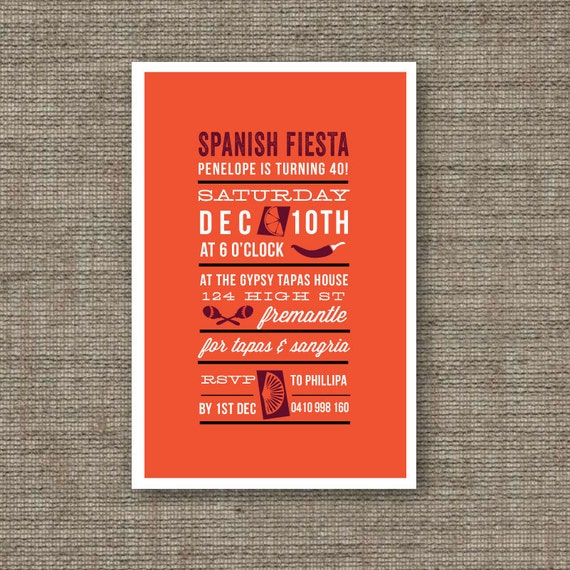 Items Similar To Spanish Party Invites (Printable PDF