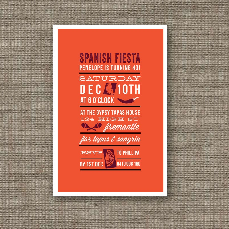 Spanish Party Invites Printable PDF Birthday By BonjourBerry