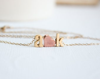 Valentines Day Gift for Her, Love necklace, initial heart necklace, Couples necklace, Initial Necklace, Rose Gold Necklace