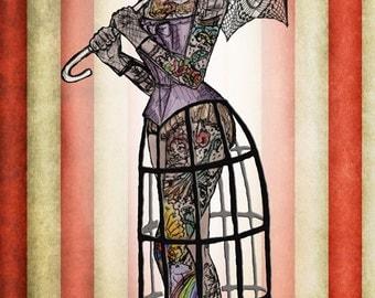 The Amazing Tattooed Lady Fine Art Print